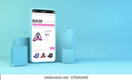 Mobile Shopping Concept 3D Rendering