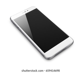 Mobile smart phone with black screen isolated on white background. 3D illustration.