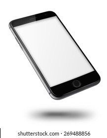 Mobile smart phone iphon style mockup with blank screen isolated on white background. Highly detailed illustration.