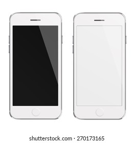 Mobile smart phones iphon style mockup with white and blank screen isolated on white background. Highly detailed illustration.