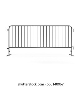 Mobile steel fence on white. 3D illustration