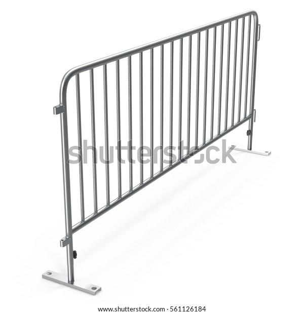 Mobile steel fence on white. 3D illustration