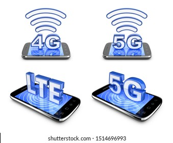 Mobile telecommunications icons. 3G, 4G and 5G technology symbols, set. 3D rendering