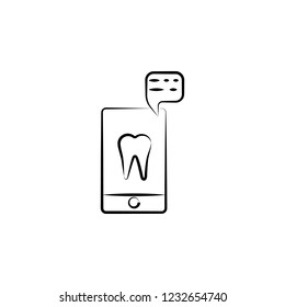 mobile, tooth, application icon. Element of dantist for mobile concept and web apps illustration. Hand drawn icon for website design and development, app development
