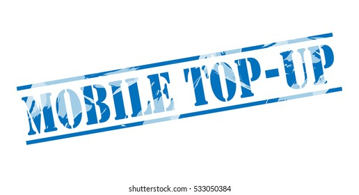 mobile top-up blue stamp on white background