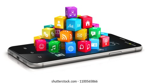 Mobile web applications, business software and social media networking service internet concept: 3D render of modern smartphone with cloud of color application icons isolated on white background