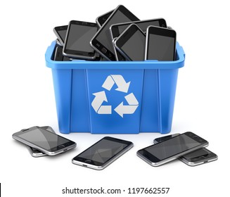 Mobiles in blue recycle crate on white background - 3D illustration