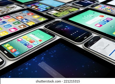 mobility concept: render of a collection of mobile devices, tablets and smartphones