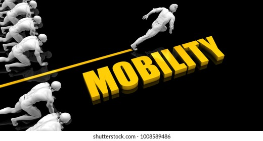 Mobility Leader with a Man Having a Head Start 3D Render