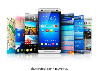 Mobility, wireless communication and app downloading internet web concept: touchscreen smartphone with group of colorful application interfaces with icons and buttons isolated on white background