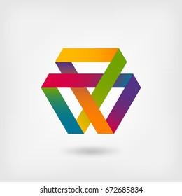 Mobius strip multi-color symbol. illustration