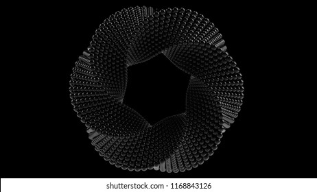 Mobius torus made of balls. 3D rendering