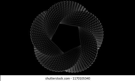 Mobius torus made of black balls. 3D rendering