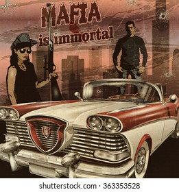 Mobster couple with retro car on night city background.