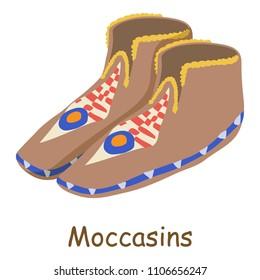 Moccasins icon. Isometric illustration of moccasins icon for web