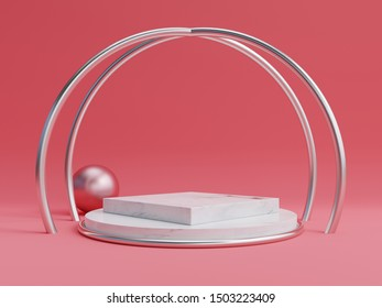 Mock up abstract podium for placing products and for placing prizes with red background,3d rendering