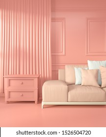Mock up Armchair and decoration mock up room interior color living coral style.3D rendering