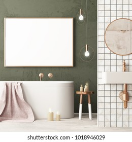 mock up bathroom in a modern style 3d