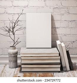 mock up blank book, in hipster vintage loft interior background, 3D render