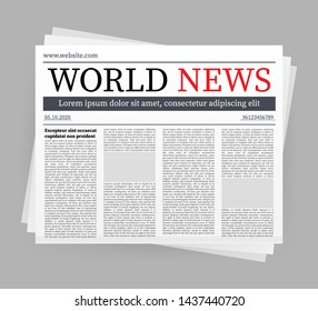 mock up of a blank daily newspaper. Fully editable whole newspaper in clipping mask. stock illustration,