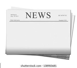 Mock up of a blank  newspaper with empty space to add your own news, advertisement or headline text and pictures, isolated on white background