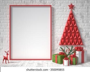 Mock up blank picture frame, Christmas decoration and gifts. 3D render illustration