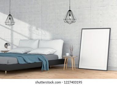 Mock up blank poster interior bed room. 3d render