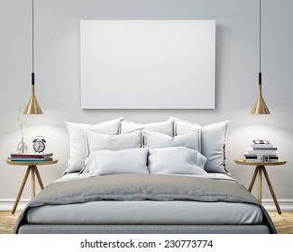 mock up blank poster on the wall of bedroom, 3D illustration background