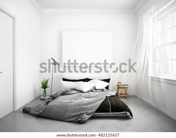Mock Blank Poster On Wall Bedroom Stock Illustration 482125657