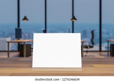 mock up blank sign on wooden desk in large modern office 3D illustration