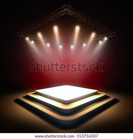 mock blank template layout stage illuminated stock illustration