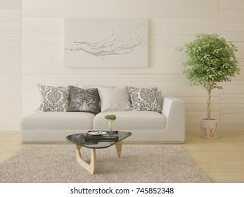 Mock up a bright living room with a compact sofa and a stylish coffee table, 3d rendering.