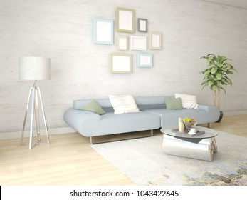 Mock up a bright living room with an exclusive floor lamp and a comfortable sofa, 3d rendering.