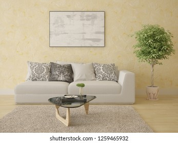 Mock up bright living room with a stylish sofa and fashionable decorative plaster, 3d rendering.