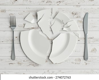 Mock up broken plate on white wooden table