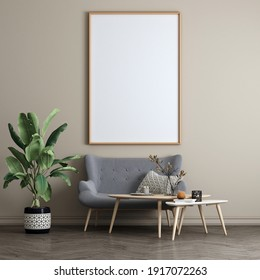 The Mock up canvas frame and furniture design in modern interior and beige wall pattern background,Minimal living room, Scandinavian style, 3D render, 3D illustration