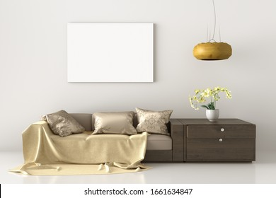 Mock up canvas poster print with wood couch sofa, pillow, dresser lamp and plant. White wall Background. 3d illustration