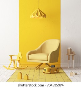 Mock up of a children's bedroom in a locally yellow color. Scandinavian style. 3d rendering.