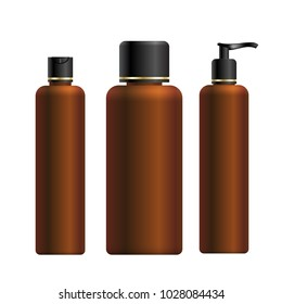 Mock up of cosmetic product for catalog, magazine. Vector design of cosmetic package. Brown shampoo botlles. Vector illustration with isolated objects