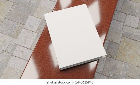 Mock up with an empty book with a background. Template for advertisement. 3D rendering.