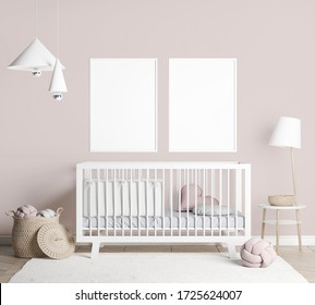 Mock Up empty frames In farmhouse Interior Background in baby room with poster frame, nursery mockup, Scandinavian Style, 3D render, 3D illustration