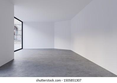 Mock up of empty room in white color. Modern interior design. 3d render image