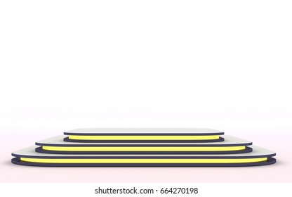 Mock up of empty stage.Space to place your text or object. 3d render. Yellow neon.