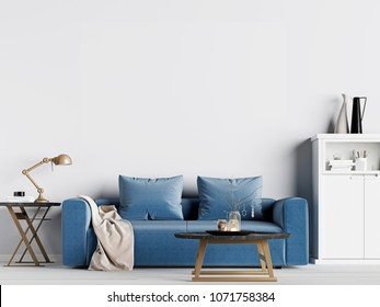 mock up empty wall in interior background with blue sofa, Scandinavian style. 3d rendering