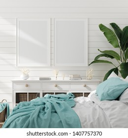 Mock up frame in bedroom interior, marine room with sea decor and furniture, Coastal style, 3d render