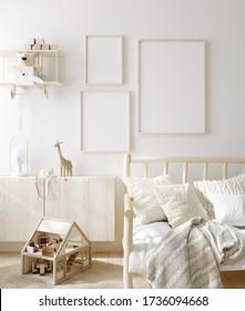 Mock up frame in children room with natural wooden furniture, Scandinavian style interior background, 3D render
