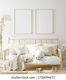 Mock up frame in children room with natural wooden furniture, Scandinavian style interior background, 3D render