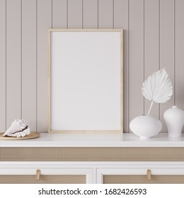 Mock up frame in coastal home interior background, room with natural wooden furniture and dry plants, 3d render