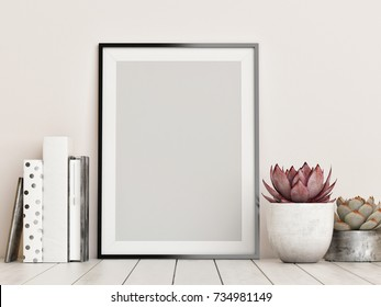 Mock up frame, hipster background, 3d render, 3d illustration