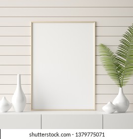 Mock up frame in home interior background, 3d render
